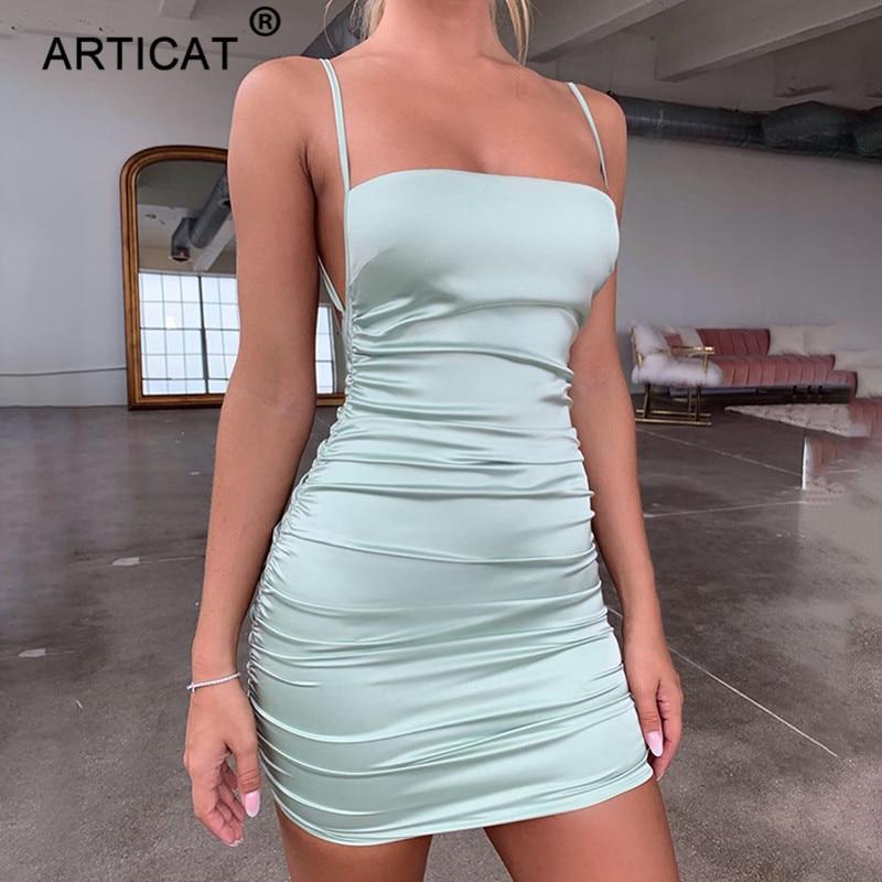 Articat Spaghetti Strap Mini Satin Dress Women Sexy Backless Cross Bandage Bodycon Party Dress Pleat