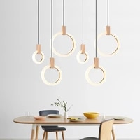 Lustre moderne plafond salon eclairage acrylique anneau luminaires escaliers deco suspendus lumieres salle a manger pendentif lampes decor a la maison