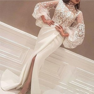 High Neck Arabic Evening Dresses  With Lace Appliques Big Full Sleeve Mermaid Side Slit Prom Gowns Satin вечернее платье