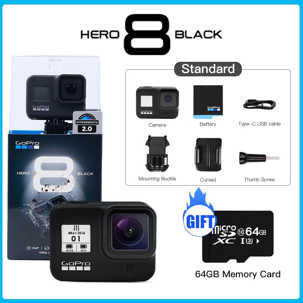 GoPro-كاميرا أكشن 4K HERO 8 Black ، أصلية ، مقاومة للماء ، فائقة الدقة ، 12 ميجابكسل ، صور 1080 بكسل ، بث مباشر ، رياضة