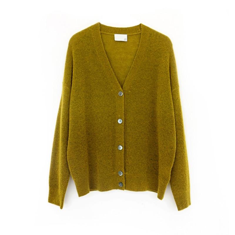 SHUCHAN New 2021 Sutumn Winter SWEATER WOMEN Knitted Cardigan 69% Wool High Street  V-Neck Loose Tops Keep Warm