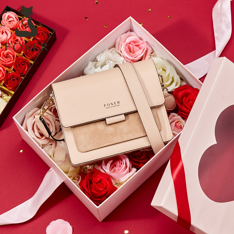 FOXER, bolso de hombro tipo bandolera de cuero dividido para mujer, 2020, Bolso pequeño con solapa a la moda para mujer, bolso femenino, regalo de San Valentín para chica