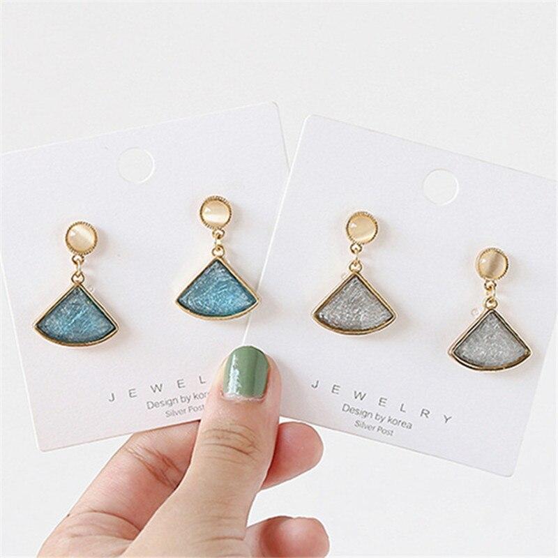 Pendientes coreanos a la moda, pendientes redondos de ópalo, pendientes nuevos de resina con cristales para mujer, accesorios de joyería