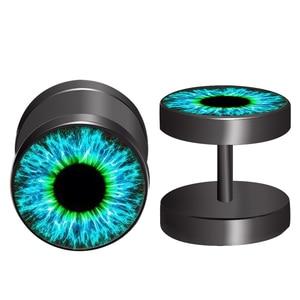 2021 New Fashion Black Stainless Steel eyeball Cheater Faux Fake Ear Plugs Women Flesh Tunnel Gauges Barbells Earring 0909