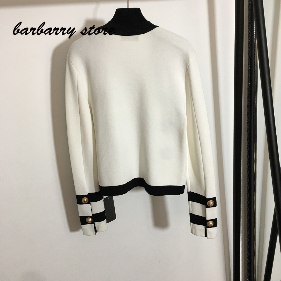 21 luxury design black and white color contrast fashion women's long sleeved cardigan temperament versatile knitted coat sweater enlarge