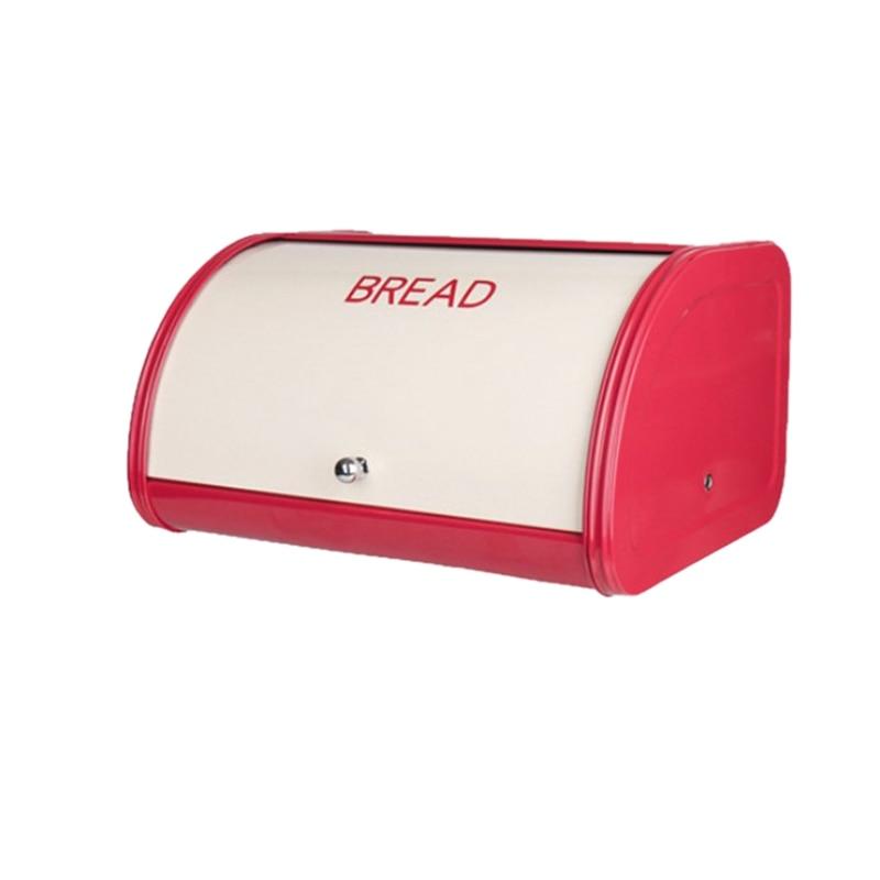 Caja de pan rojo para mostrador de cocina contenedor de almacenamiento de pan para panes, pasteles y más, diseño de tapas enrolladas