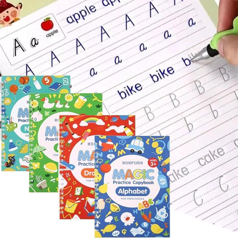4-libri-set-di-quaderno-scolastico-per-bambini-calligrafia-3d-pratica-riutilizzabile-per-la-scrittura-a-mano-impara-a-scrivere-cancelleria-magica-inglese