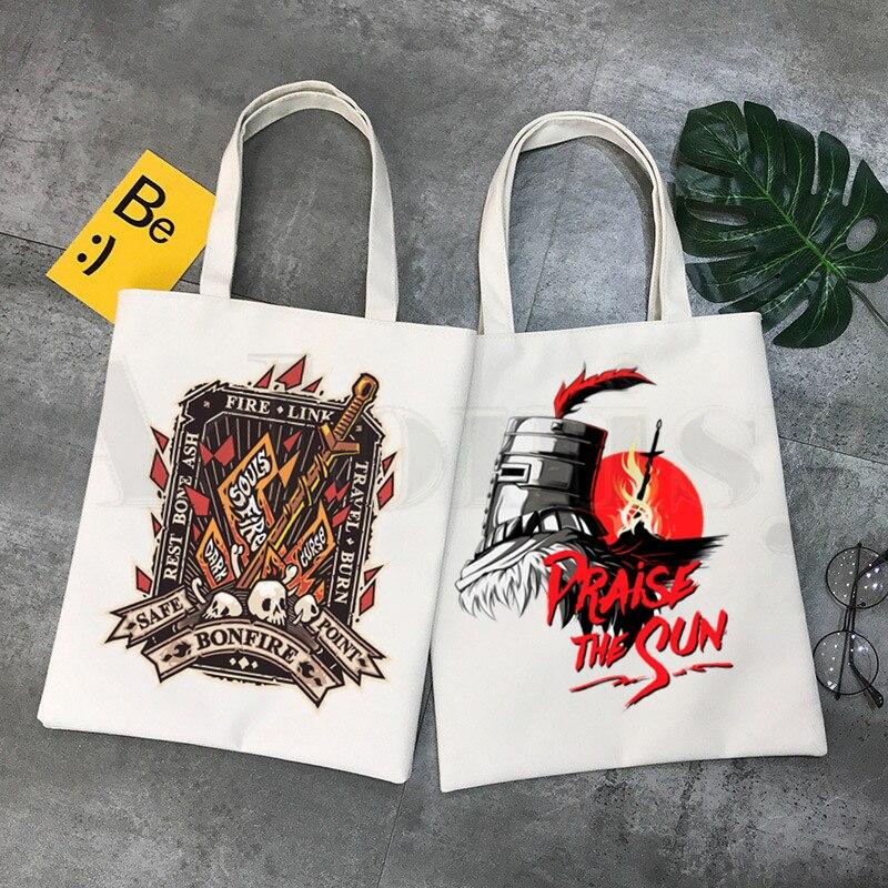 Dark soulds Lordran, bolsas de compra con estampado gráfico de Horror y dibujos animados, bolsas de mano casuales a la moda para chicas