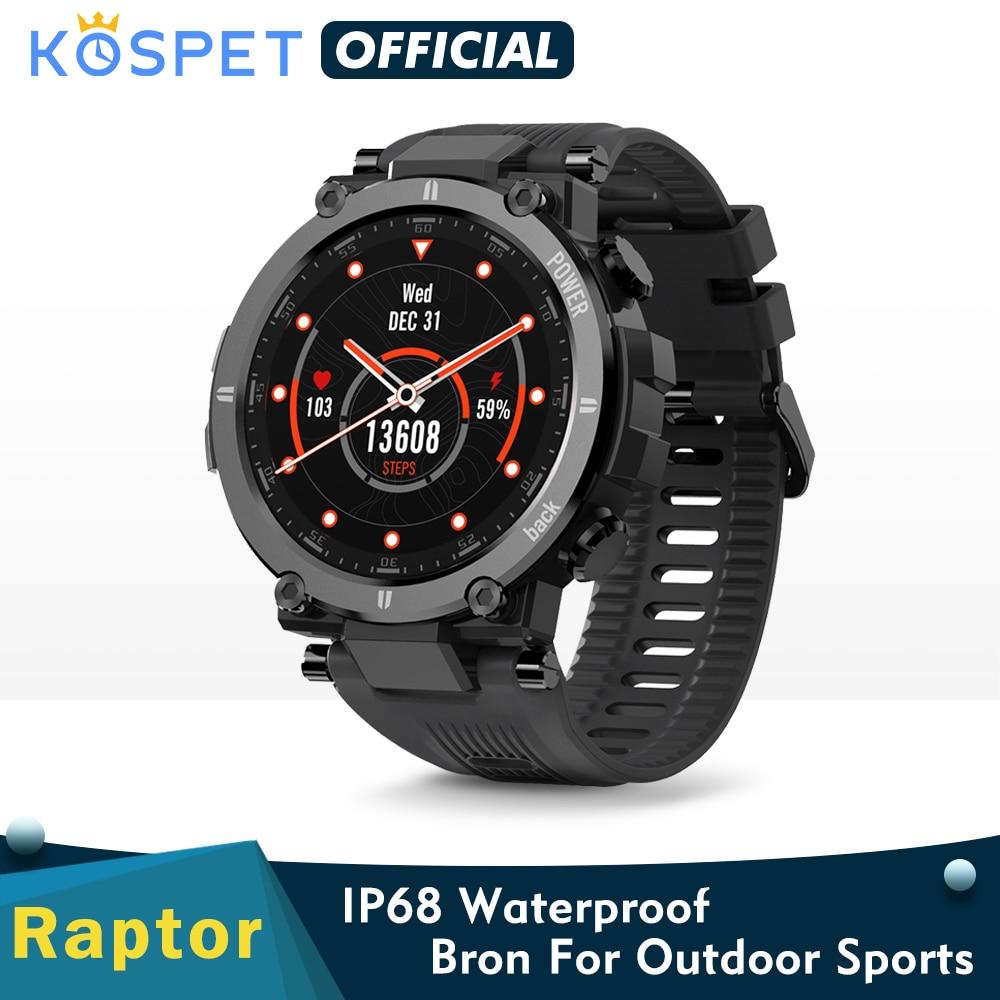 2020 New جديد KOSPET Raptor الرياضة في الهواء الطلق ساعة وعرة بلوتوث كامل اللمس ساعة ذكية Ip68 مقاوم للماء تعقب موضة Smartwatch للرجال