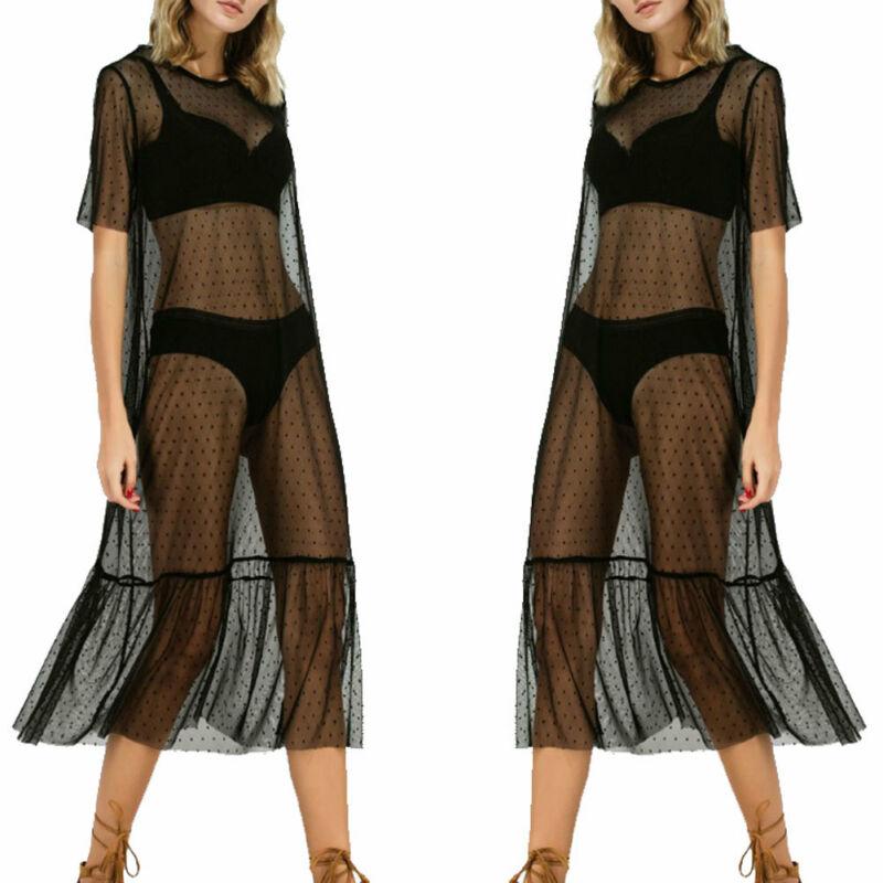 Black Mesh Sheer See Through Dress Women Sexy Dot Print Dress Vestidos Female Short Sleeve Round Neck Summer Beachwear Dresses