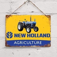 new holland agriculture tractor farm retro metal tin sign plaque poster wall decor art shabby chic gift
