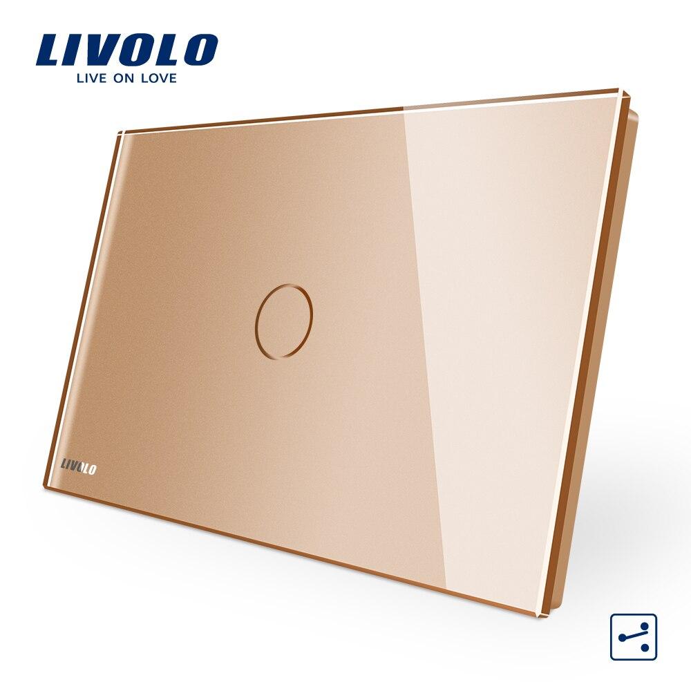 Livolo eua au padrão c9 toque interruptor corss, 2 maneiras através de controle sem fio, toque interruptor de luz remoto, painel de vidro cristal