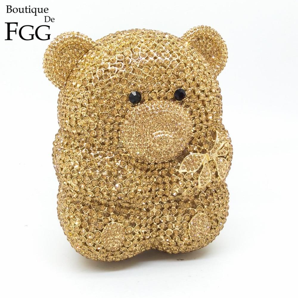 Boutique De FGG-حقيبة يد ذهبية على شكل دب للنساء ، حقيبة سهرة كريستالية ، حقيبة صغيرة ، لحفلات الزفاف