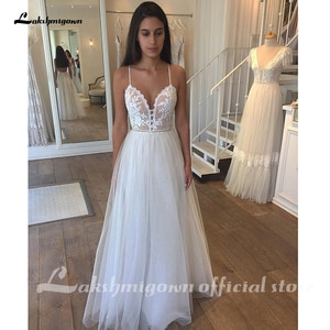 Lakshmigown Wedding Dress Boho Sweetheart Spaghetti Strap A-line Tulle Lace Appliques Bohemian Bridal Gowns Simple Sleeveless