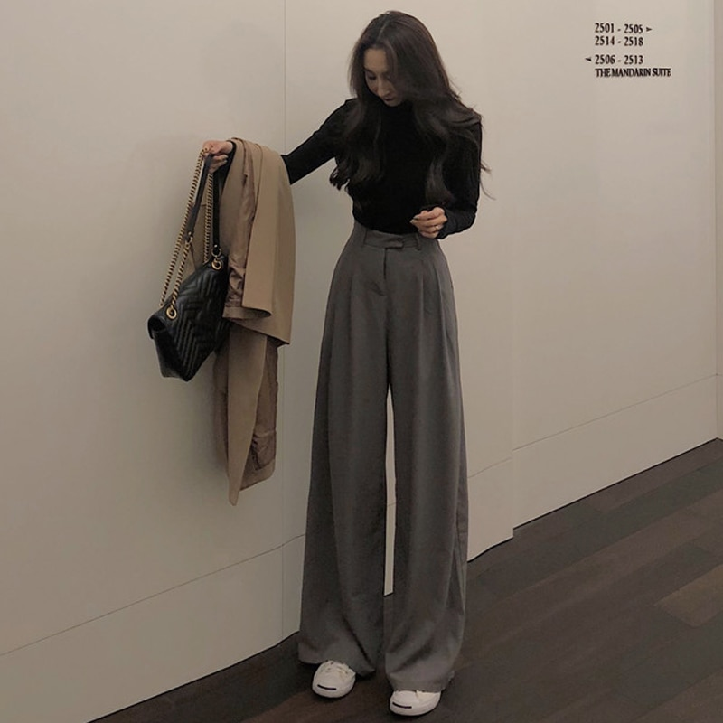 2021 Spring Autumn Tall Person Female Solid Wide Leg Pants Women Full Length Pants  High Quality Sim