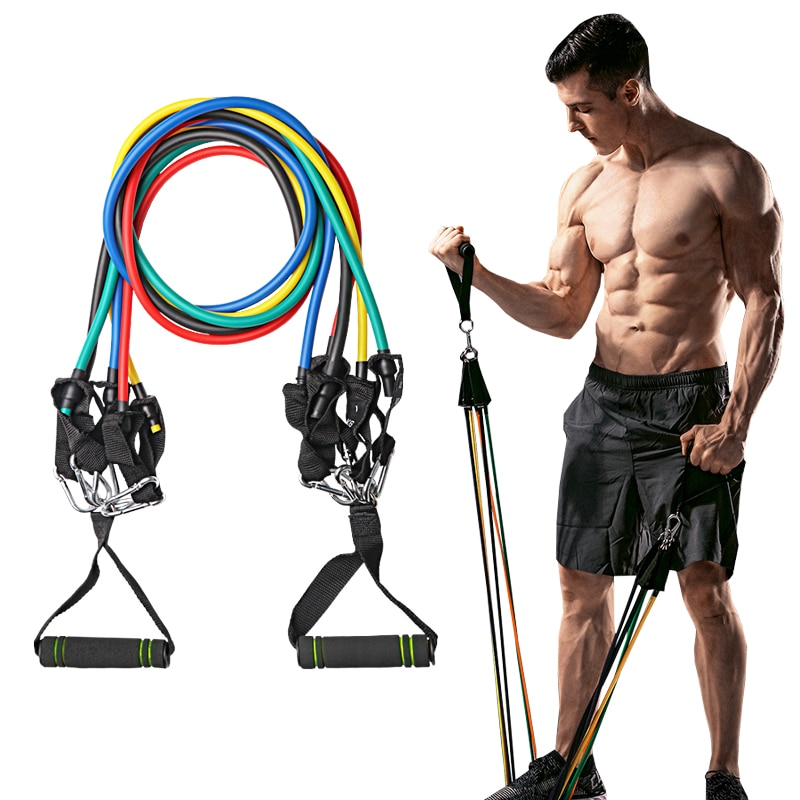 11 unids/set bandas de resistencia para Fitness, tubos de cuerda para tirar de Yoga, deporte, ejercicio, goma, bandas de ejercicio, gimnasio, deporte, expansor de goma