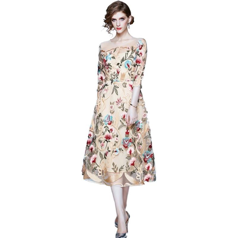 Simgent Embroidery Dress 2020 Women Autumn Mesh Patchworl Floral High End Midi Long Elegant Dress Vestidos Robe Femme SG08145