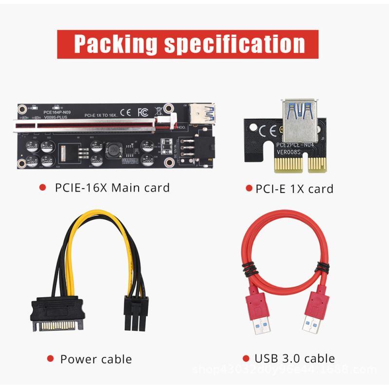 Adaptador de extensión de tarjeta USB 3,0 PCIE 1X un 16X Cable de extensión SATA Drive interfaz de Tarjeta Gráfica 6P