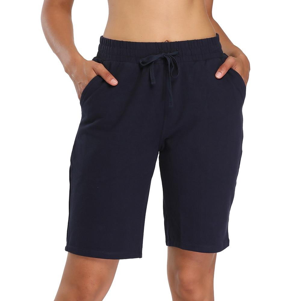 Женские шорты-бермуды для тренировок, шорты для спортзала, йоги, атлетики, бега, спортивные длинные шорты с карманами, короткие спортивные ш...