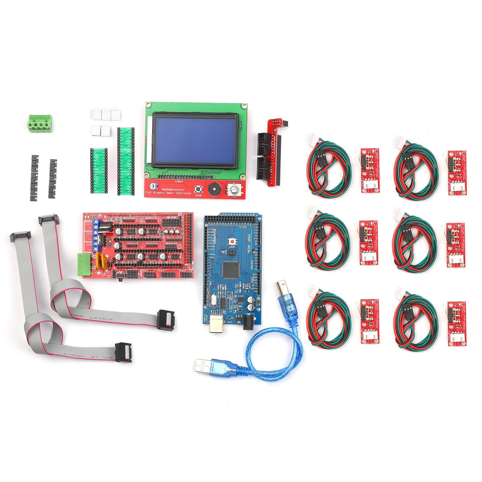 Controlador de Impressora 3d com Rampas Controlador Placa Controle A4988 Driver Motor Passo 12864 Gráfico Kit Cnc 1.4 2560