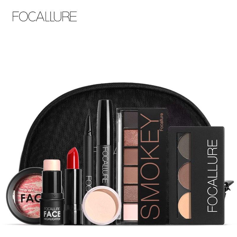 Focallure 8 Pcs Makeup Set Including Lipstick Eyeliner Mascara Eyeshadow Eyebrow Powder Makeup Kit W