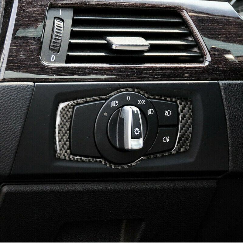 1Pc Headlight Switch Frame Carbon Fiber Suitable For BMW 3 Series E90 E92 E93 2005-2012 Interior Mouldings