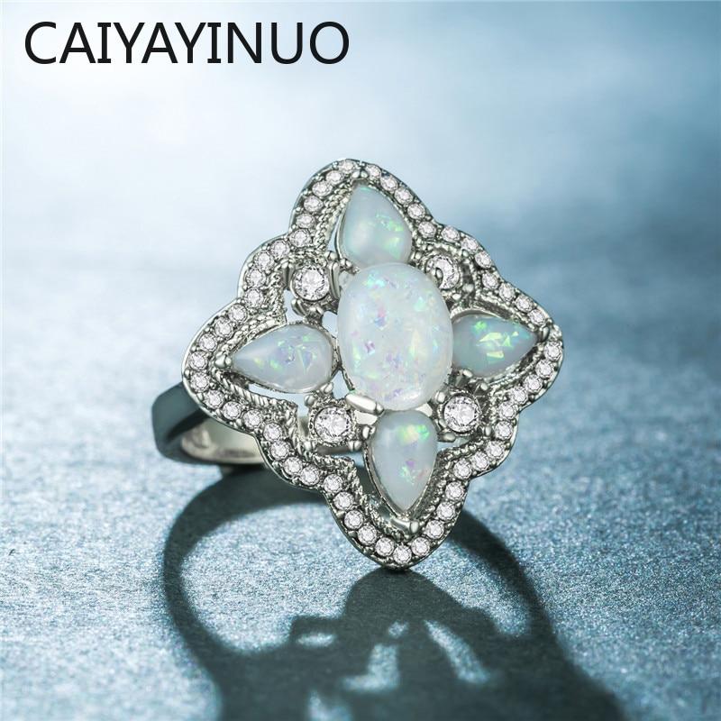 Caiyayinuo classique 925 bague en argent pour les femmes avec bleu opale pierre précieuse argent bijoux fins femmes fête cadeau en gros taille 6-10