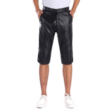 Thoshine Brand Summer Men Leather Shorts Elastic Outerwear Male Fashion PU Leather Shorts