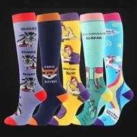 cartoon animal rainbow compression socks for women girls sports marathon running cycling yoga socks football knee socks xa14tq