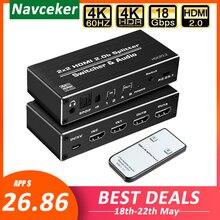2020 4K HDMI 2.0 commutateur 2 en 2 Out 4K @ 60hz, 2x2 HDMI séparateur de commutation avec optique Toslink SPDIF & 3.5mm Jack Audio extracteur