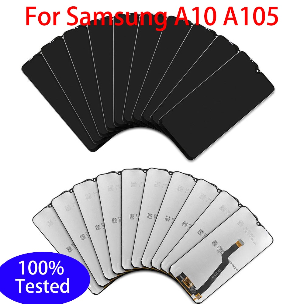 5/10 قطعة الأصلي LCD عرض لسامسونج غالاكسي A10 A105/DS A105F A105FD LCD عرض و شاشة تعمل باللمس محول الأرقام مع الإطار