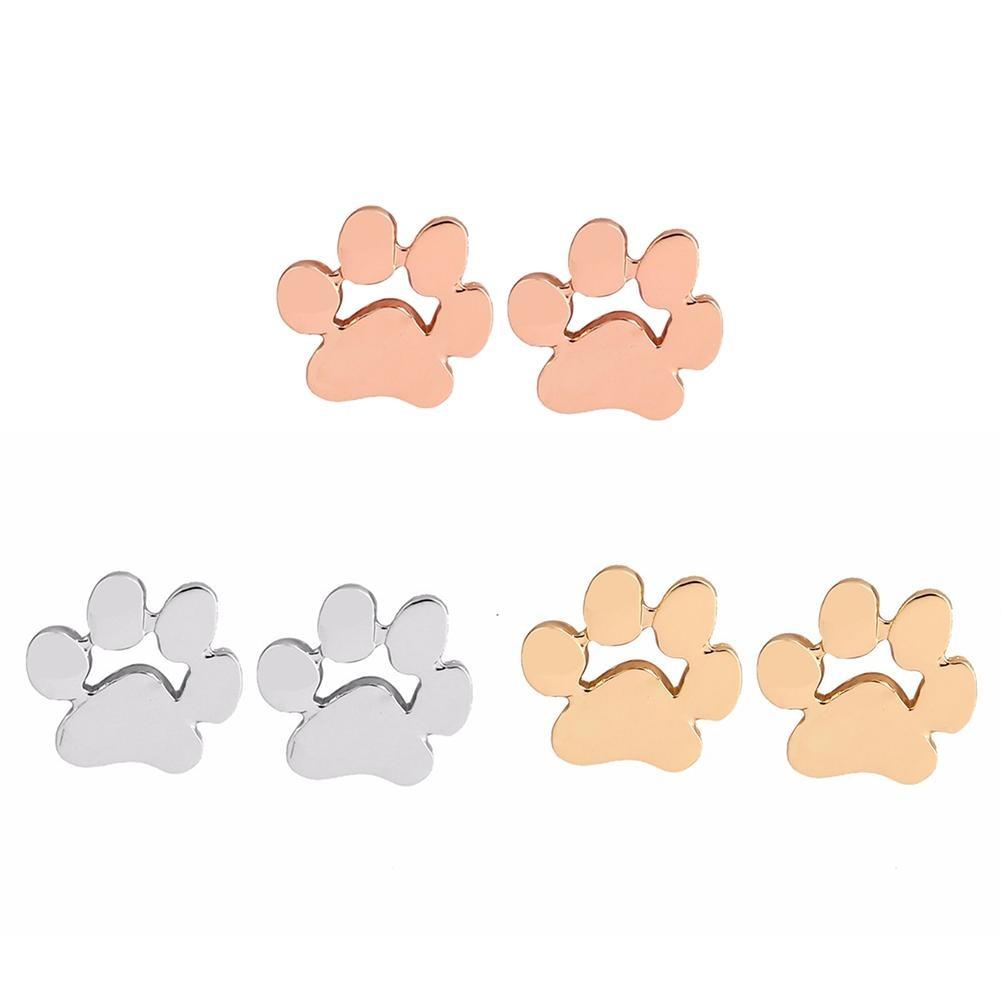 Women Fashion Alloy Animal Paw Footprint Shape Ear Studs Earrings Jewelry Gift Valentine's Day prese
