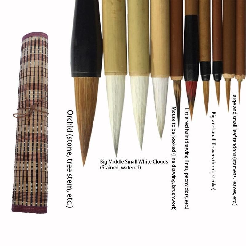 10Pcs Chinese Bamboo Calligraphy Brushes With Pen Curtain Set Writing Brush Tool Calligraphy Ink Art Painting Supplie