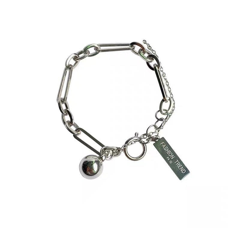 Simple and Fashionable Small Round Ball Square Brand Letter Bracelet Ladies Hip Hop Hand Made Chain Accessories  - buy with discount