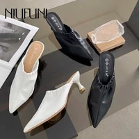 niufuni fashion mules shoes pointed toe women slippers high quality pu ladies sandals low heel casual shoes for women slides