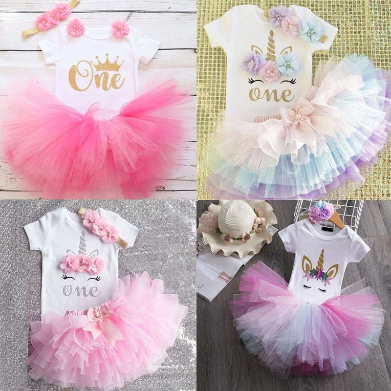 baby girls boutique clothing girls kid back to school outfits girls car camper school clothing with pink ruffle shorts with bows Infant Baby Girl Clothing Newborn Baby Girls 1st Birthday Outfits ONE Year Dress Unicorn Party Toddler Girls Boutique Clothes