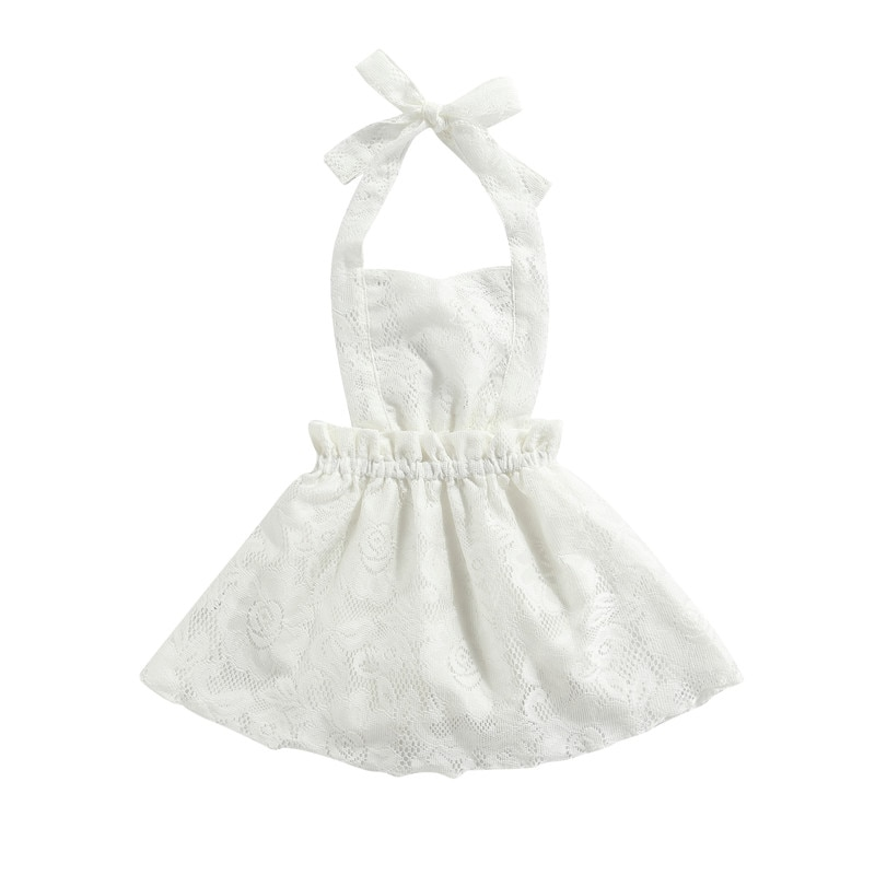 Newborn Halter Romper with Lace Decoration Exquisite Ruffle Sweet Style Princess Summer Clothing