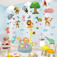 cartoon animals wall stickers diy elephant lion rabbit wall decals for kids rooms baby bedroom nursery home decoration