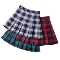summer women plaid mini skirt high waist chic female pleated skirts fashion office ladies club party casual short pleated skirt
