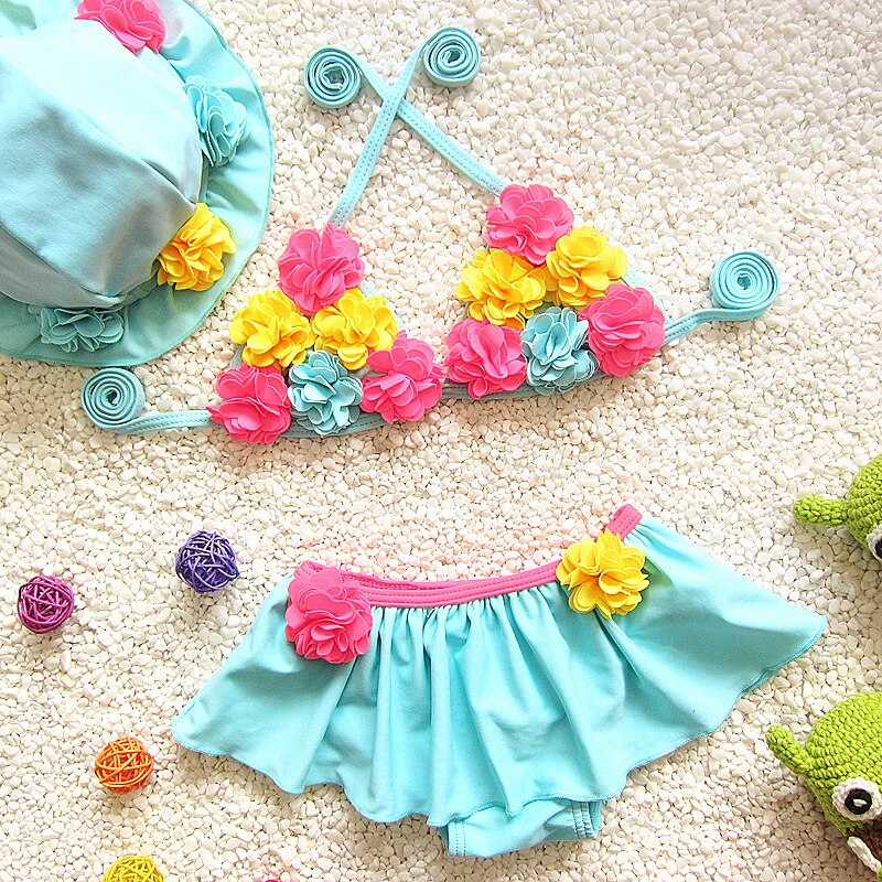 2021 Floral Baby Girl Bikini Sets 3 PCS Cute Toddler Bathing Suits Sport Beach Skirt Swimwear Outdoor Children Swimsuits Clothes