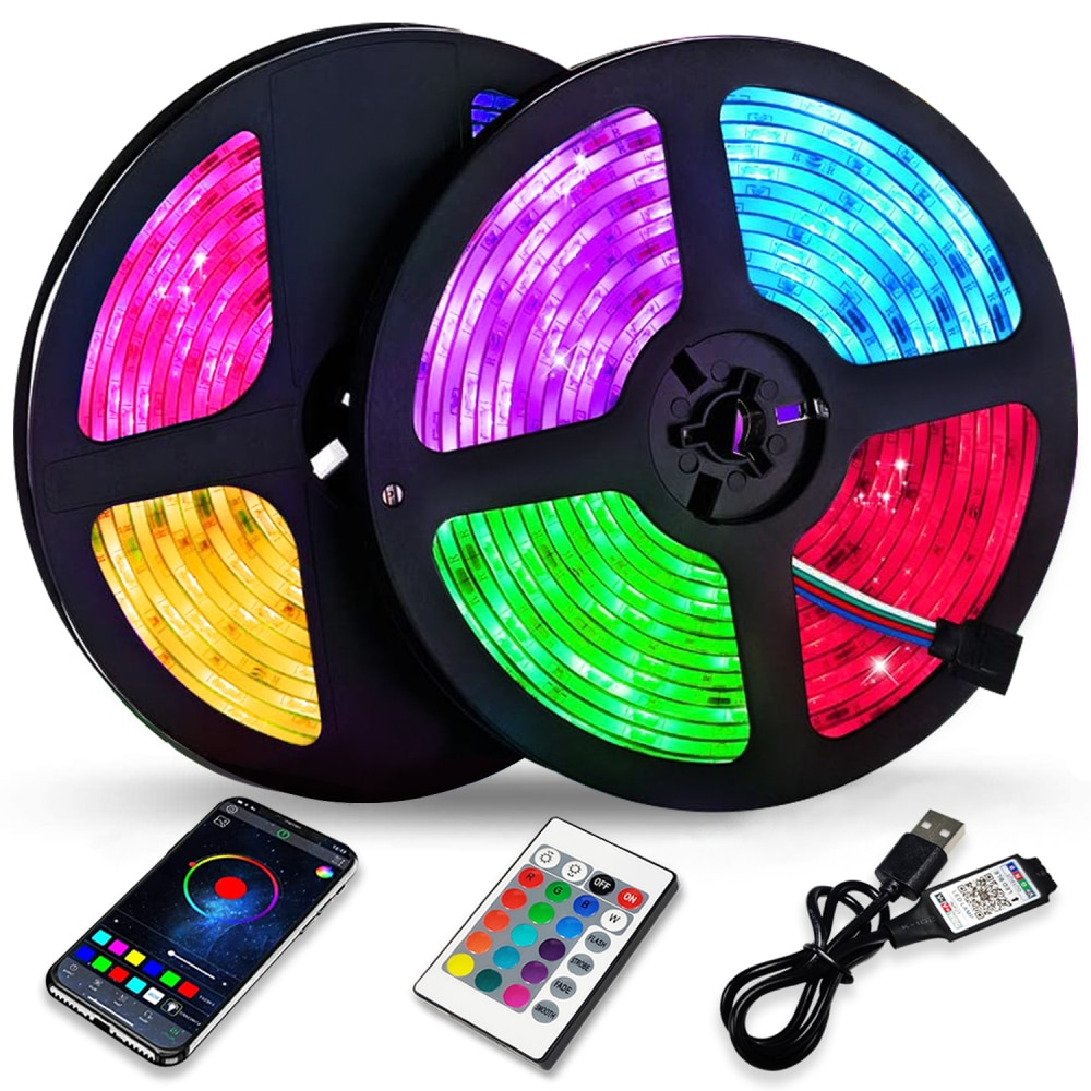 Tira de Luces LED con Bluetooth y Control USB, lámpara Flexible RGB...