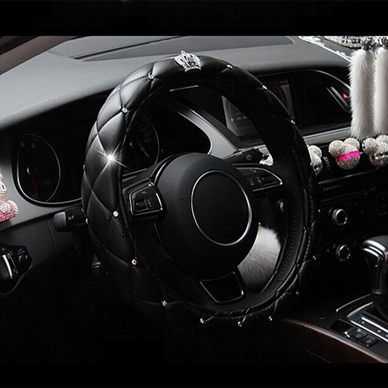 38cm luksusowy kryształ korona osłona na kierownicę do samochodu dla hyundai getz grand starex veloster veracruz verna solaris