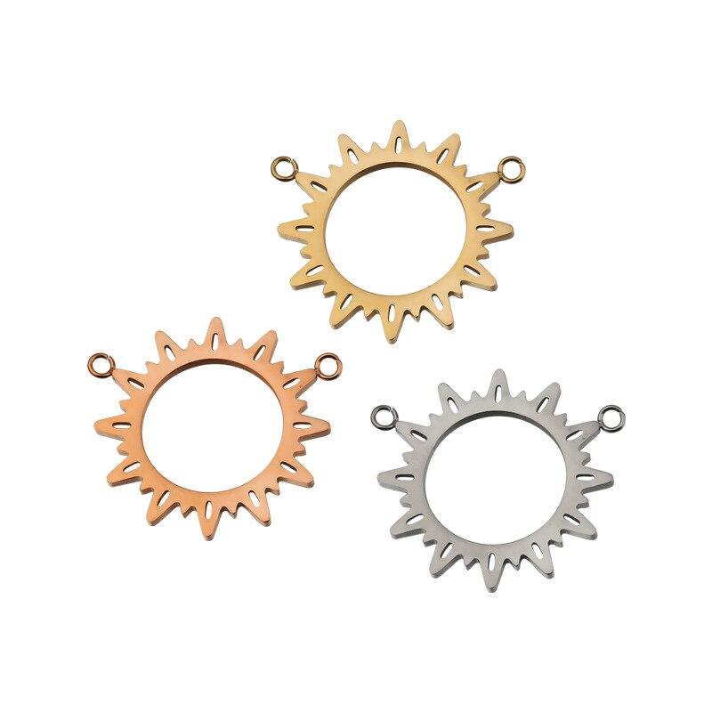 Lote de 5 unidades de abalorios planos con conector de placa de oro y Sol de acero inoxidable, accesorios de pulsera para hacer joyería DIY
