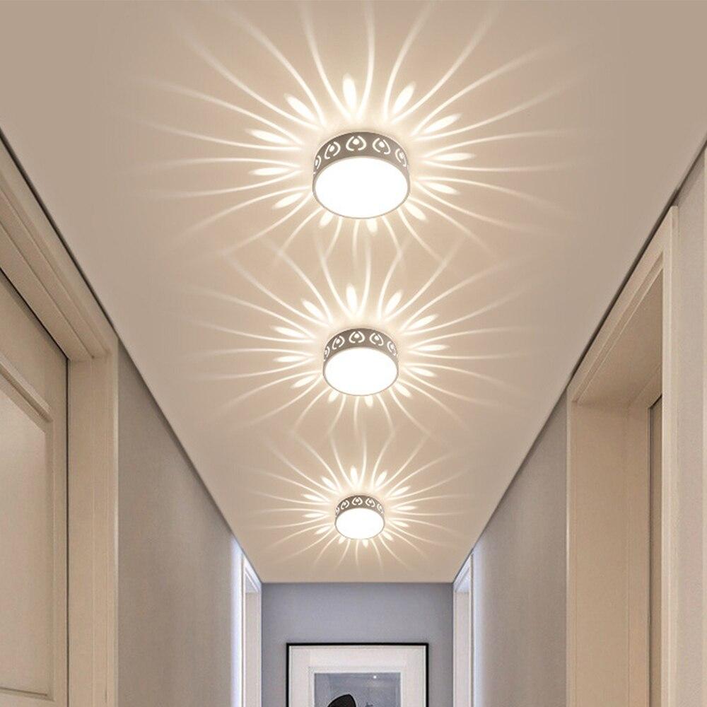 Cor moderna led luzes de teto 3 w/5 w conduziu a lâmpada do teto decoração sombra corredor lampara luminárias