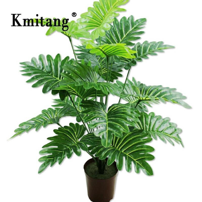 65cm 18 Fork Tropical Monstera Large Artificial Tree Plastic Plants Branch Fake Palm Leaf False Tree Leaves For Home Party Decor