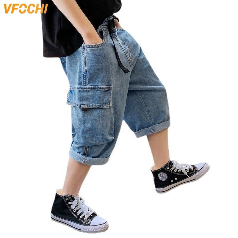 VFOCHI Brand New Boys Denim Shorts 4-16Y Kids Shorts Summer Children Clothes Boys Beach Shorts Casual Teenager Boys Jeans Shorts