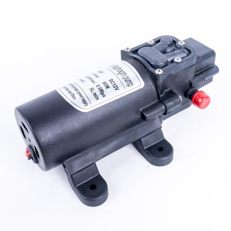 Bomba de água elétrica de diafragma, durável, dc 12 v 60w 5l/min, preta, micro, alta pressão pulverizador para lavagem de carro 12 v
