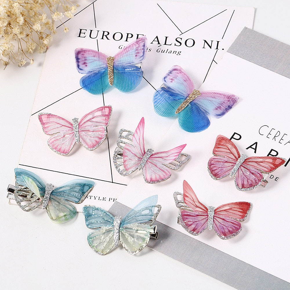 2Pcs Mini Butterfly Hair Clips Women Hairpins Fashion Headpiece Barrette Wedding Hairpins Hair Acces