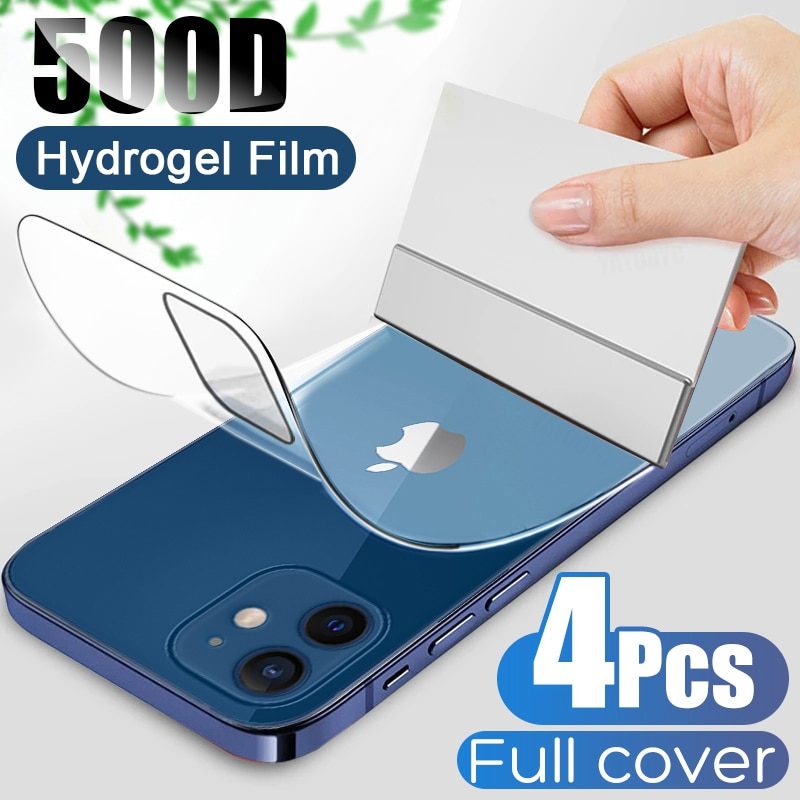 4Pcs Full Cover Hydrogel Film For iPhone 11 12 Pro Max Mini Back Screen Protector For iPhone 7 8 6 P
