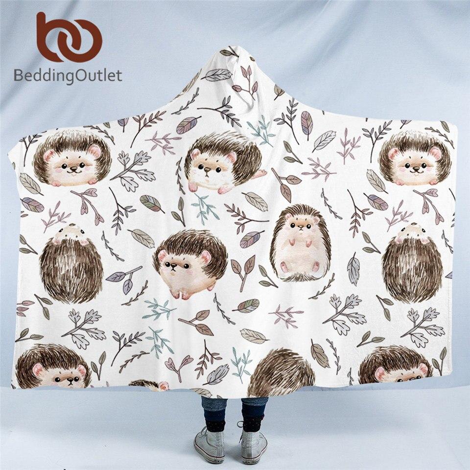 BeddingOutlet-بطانية بغطاء للرأس للبالغين ، وغطاء للرأس ، وتصميمات حيوانات كرتونية ، ولون مائي ، وغطاء للرأس